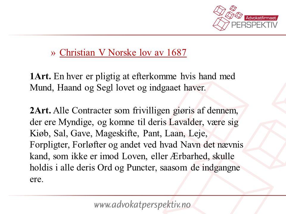 Christian V Norske lov av 1687