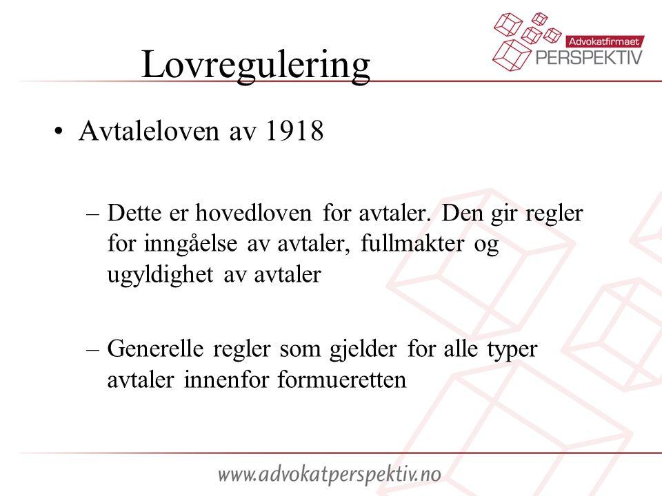 Lovregulering Avtaleloven av 1918