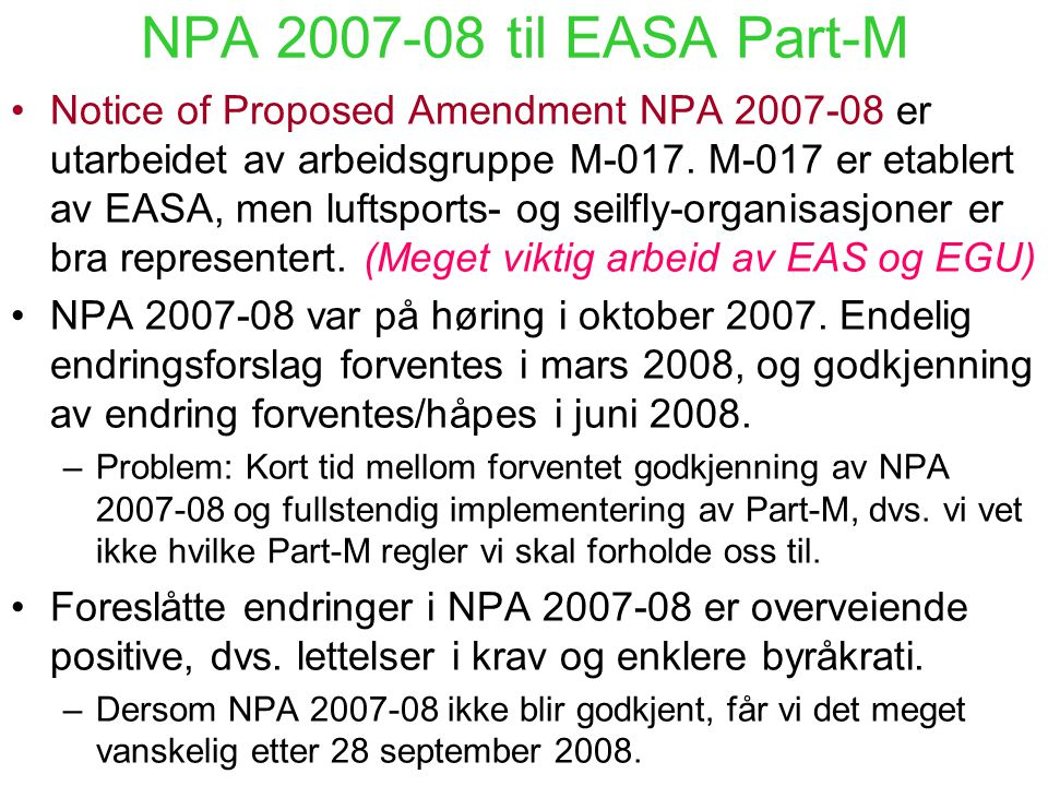 NPA 2007-08 til EASA Part-M