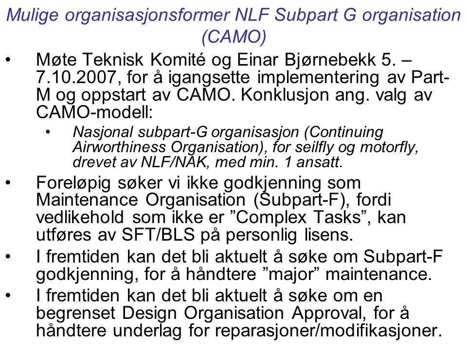 Mulige organisasjonsformer NLF Subpart G organisation (CAMO)