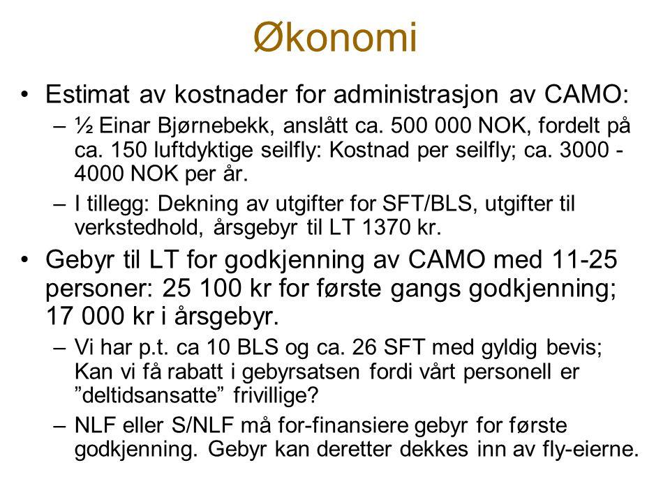Økonomi Estimat av kostnader for administrasjon av CAMO:
