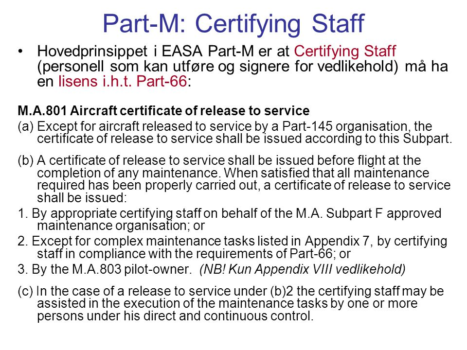 Part-M: Certifying Staff