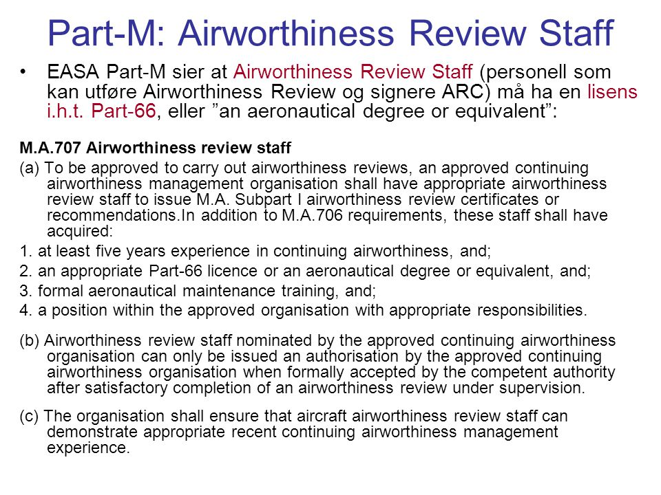 Part-M: Airworthiness Review Staff