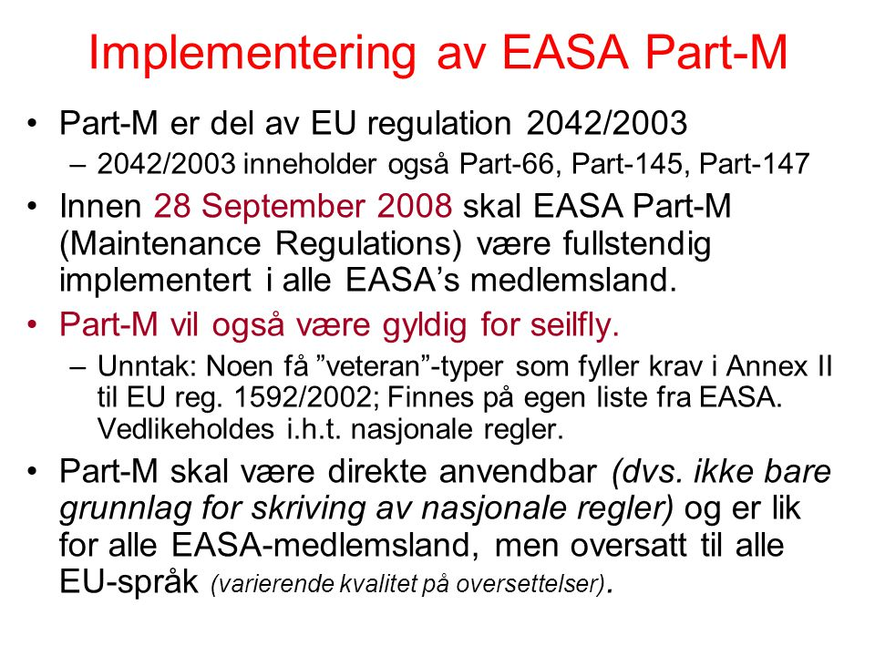Implementering av EASA Part-M