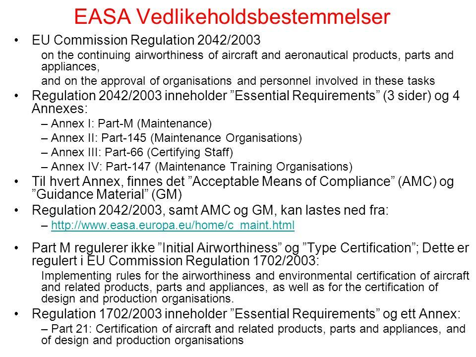 EASA Vedlikeholdsbestemmelser