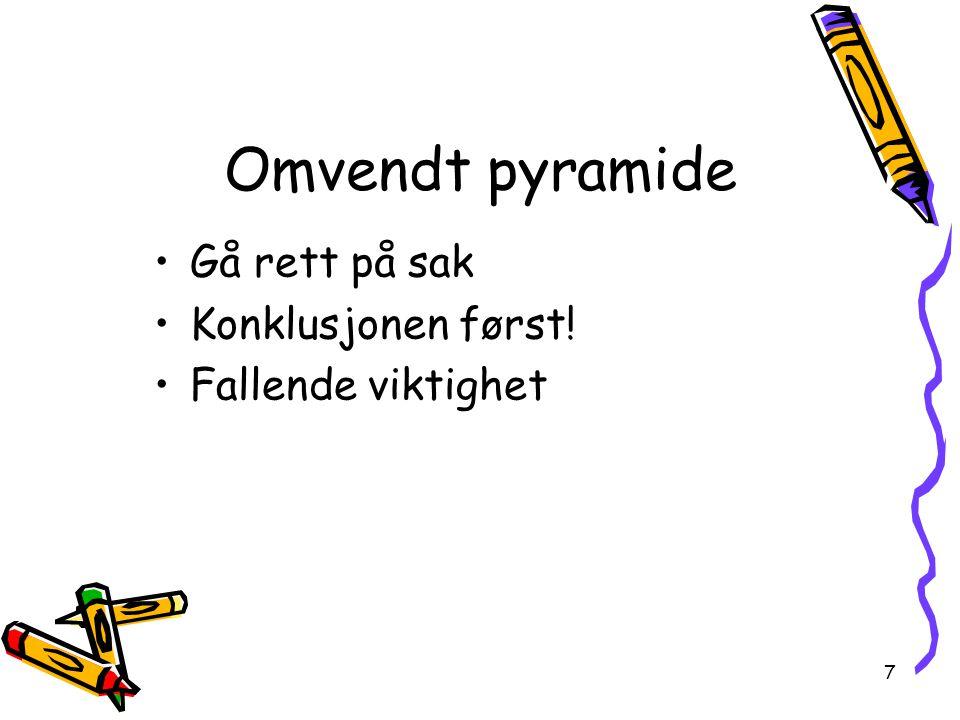 Omvendt pyramide Gå rett på sak Konklusjonen først! Fallende viktighet