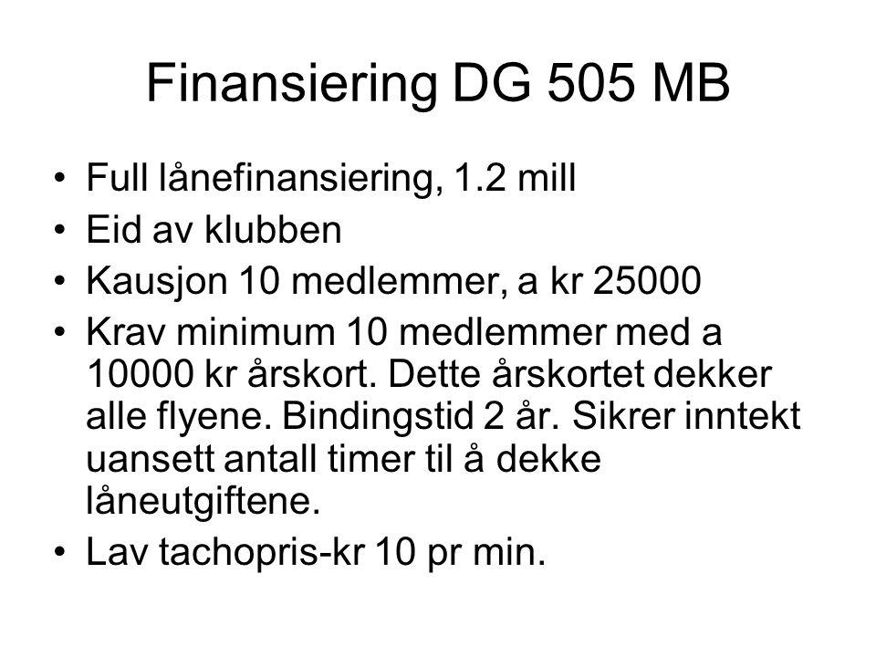 Finansiering DG 505 MB Full lånefinansiering, 1.2 mill Eid av klubben