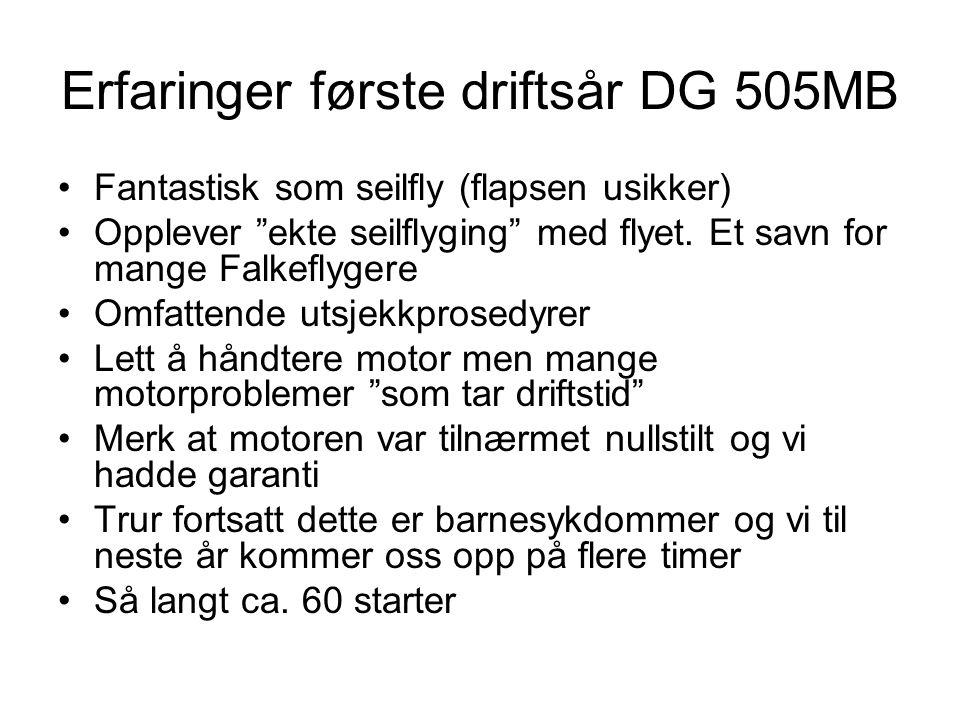Erfaringer første driftsår DG 505MB