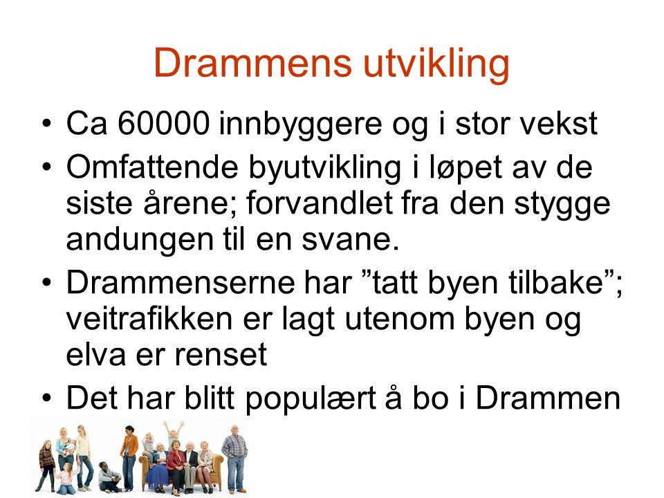 Drammens utvikling Ca 60000 innbyggere og i stor vekst