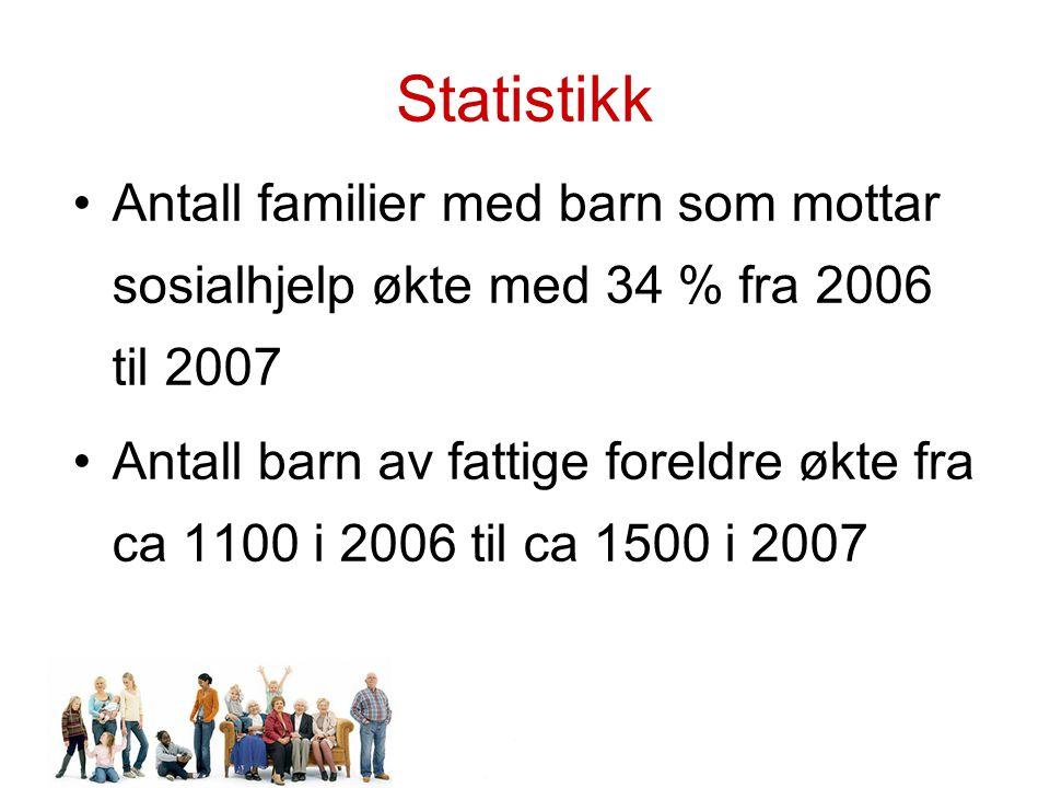 Statistikk Antall familier med barn som mottar sosialhjelp økte med 34 % fra 2006 til 2007.
