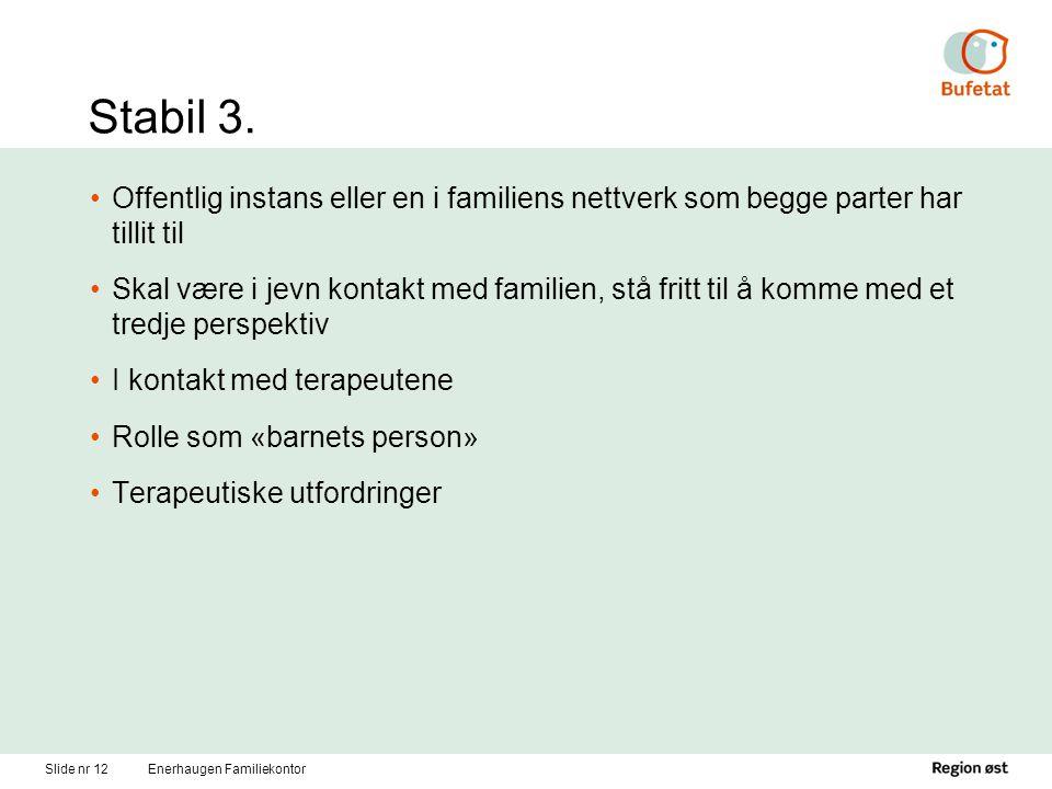 Stabil 3. Offentlig instans eller en i familiens nettverk som begge parter har tillit til.