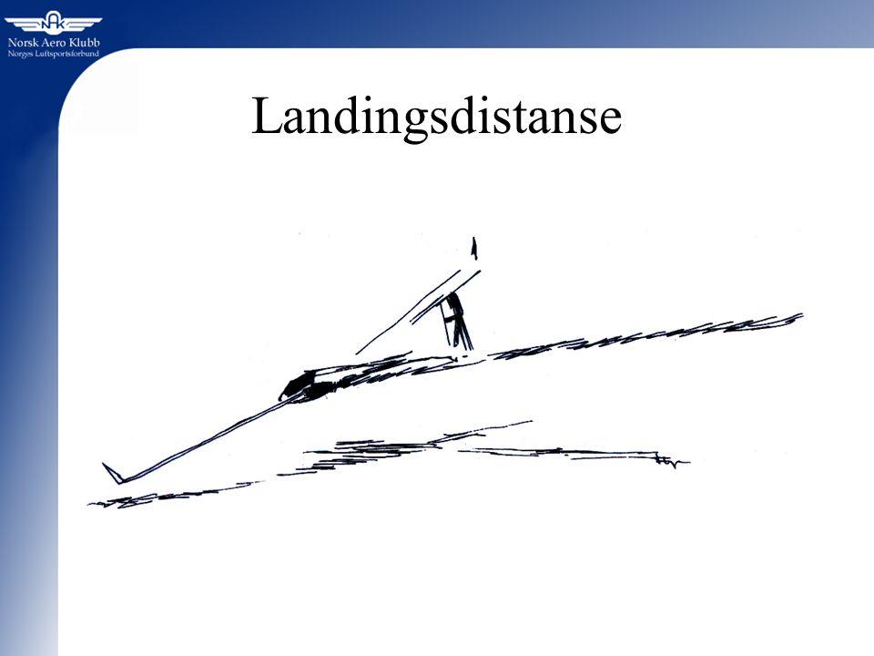 Landingsdistanse Vi skal kort se på hvordan nødvendig landingsdistanse blir påvirket av forskjellige faktorer: