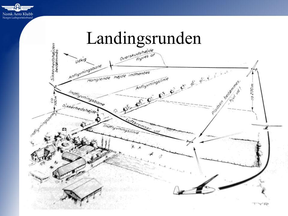 Landingsrunden Landingsrunden justeres etter forholdene, slik at man får like lang TID på hver legg hver gang.