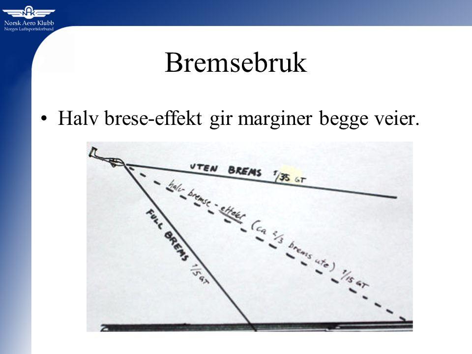 Bremsebruk Halv brese-effekt gir marginer begge veier.