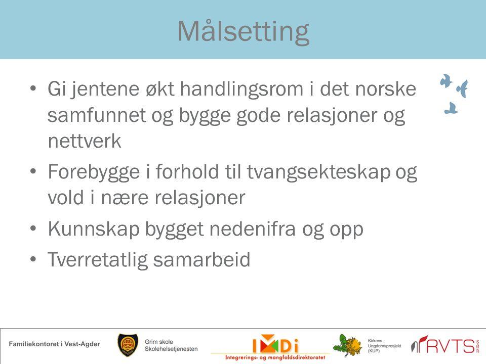 Målsetting Gi jentene økt handlingsrom i det norske samfunnet og bygge gode relasjoner og nettverk.
