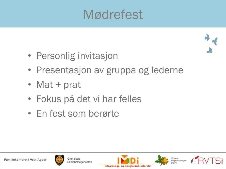 Mødrefest Personlig invitasjon Presentasjon av gruppa og lederne