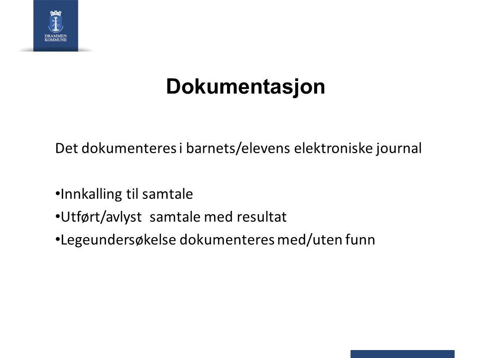Dokumentasjon Det dokumenteres i barnets/elevens elektroniske journal