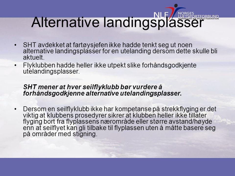 Alternative landingsplasser