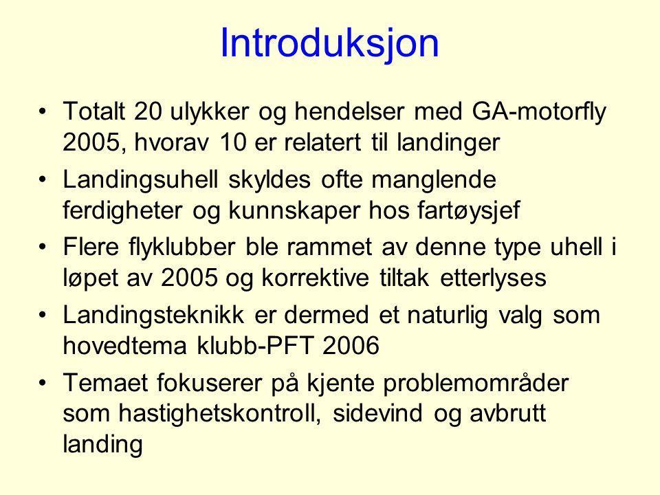 Introduksjon Totalt 20 ulykker og hendelser med GA-motorfly 2005, hvorav 10 er relatert til landinger.