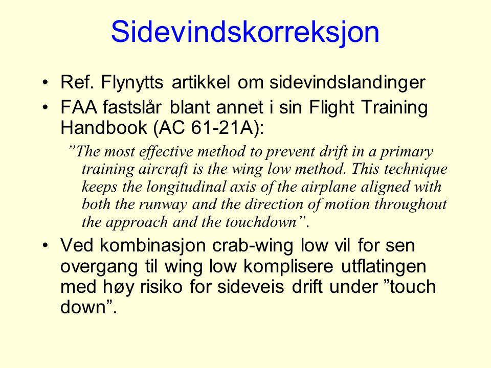 Sidevindskorreksjon Ref. Flynytts artikkel om sidevindslandinger