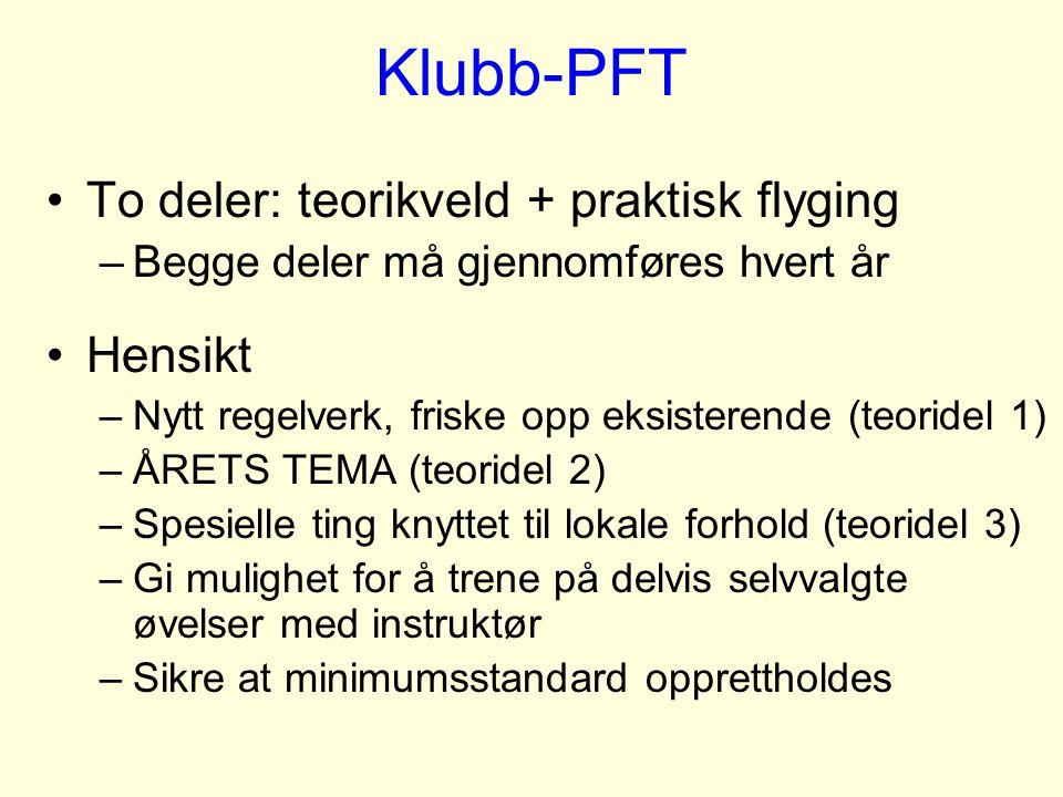 Klubb-PFT To deler: teorikveld + praktisk flyging Hensikt