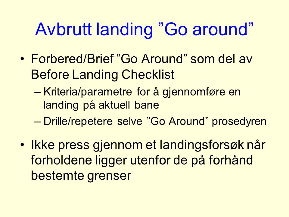 Avbrutt landing Go around