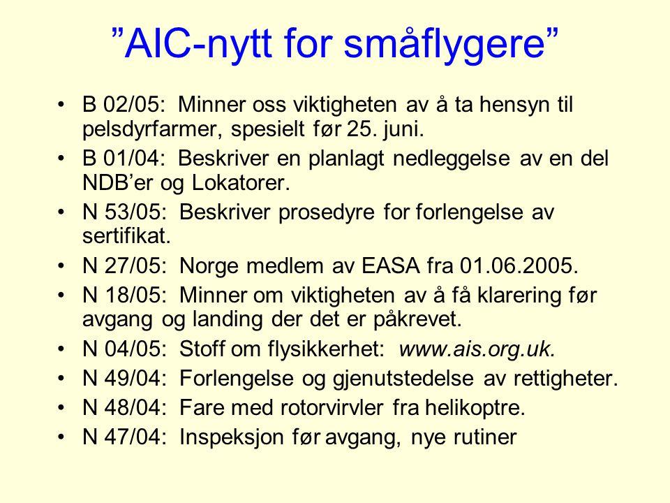 AIC-nytt for småflygere