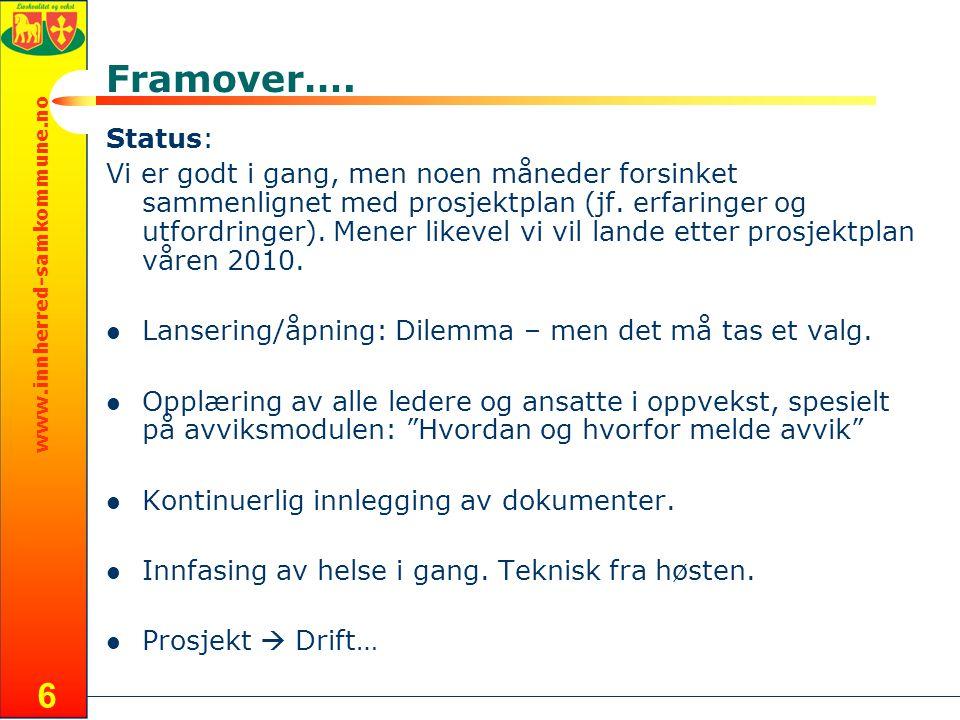 Framover…. Status: