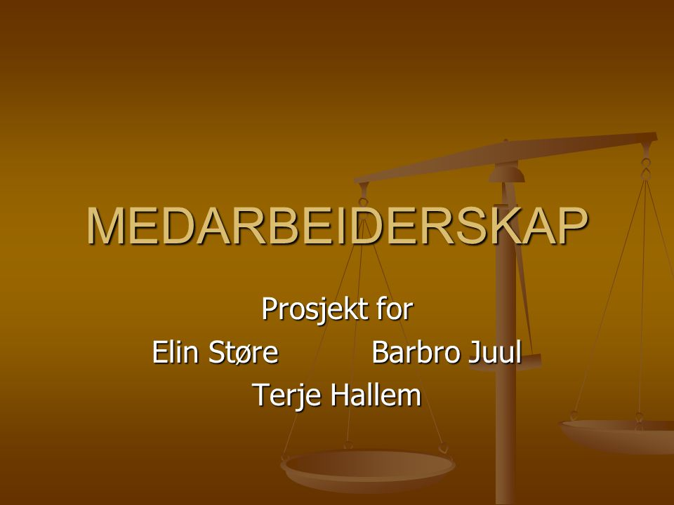 Prosjekt for Elin Støre Barbro Juul Terje Hallem