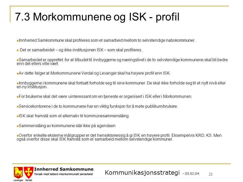 7.3 Morkommunene og ISK - profil
