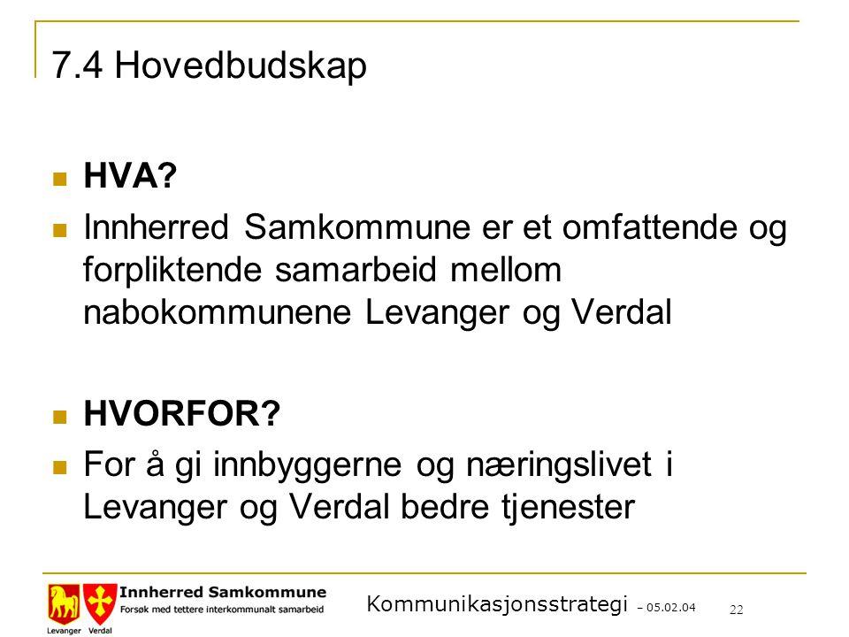 7.4 Hovedbudskap HVA Innherred Samkommune er et omfattende og forpliktende samarbeid mellom nabokommunene Levanger og Verdal.