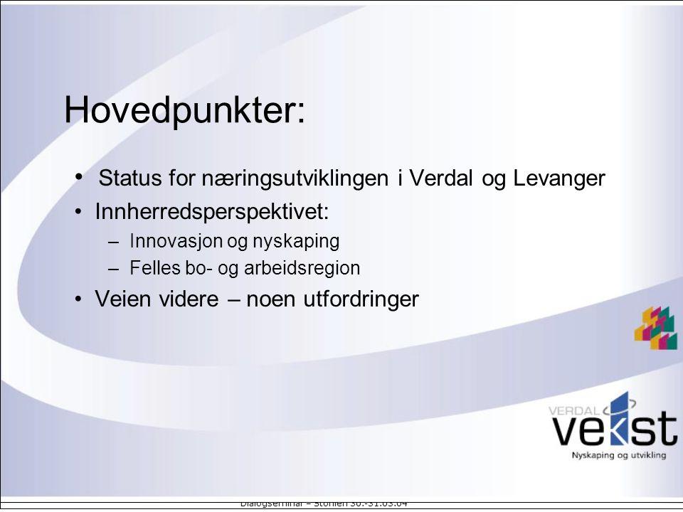 Hovedpunkter: Status for næringsutviklingen i Verdal og Levanger
