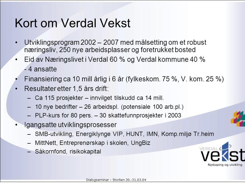 Kort om Verdal Vekst Utviklingsprogram 2002 – 2007 med målsetting om et robust næringsliv, 250 nye arbeidsplasser og foretrukket bosted.