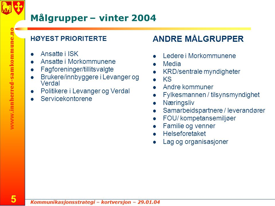 Målgrupper – vinter 2004 ANDRE MÅLGRUPPER HØYEST PRIORITERTE