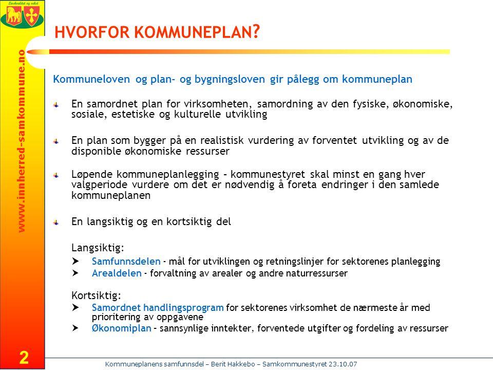 HVORFOR KOMMUNEPLAN Kommuneloven og plan- og bygningsloven gir pålegg om kommuneplan.