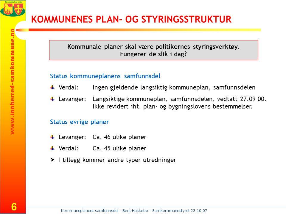 KOMMUNENES PLAN- OG STYRINGSSTRUKTUR
