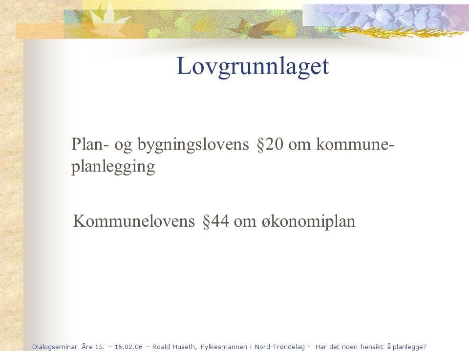 Lovgrunnlaget Plan- og bygningslovens §20 om kommune-planlegging