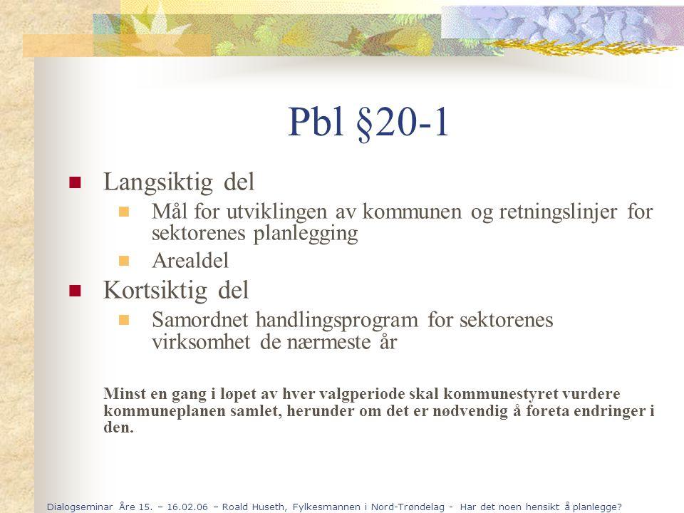 Pbl §20-1 Langsiktig del Kortsiktig del