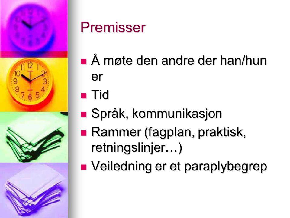 Premisser Å møte den andre der han/hun er Tid Språk, kommunikasjon