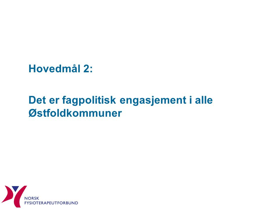 Hovedmål 2: Det er fagpolitisk engasjement i alle Østfoldkommuner