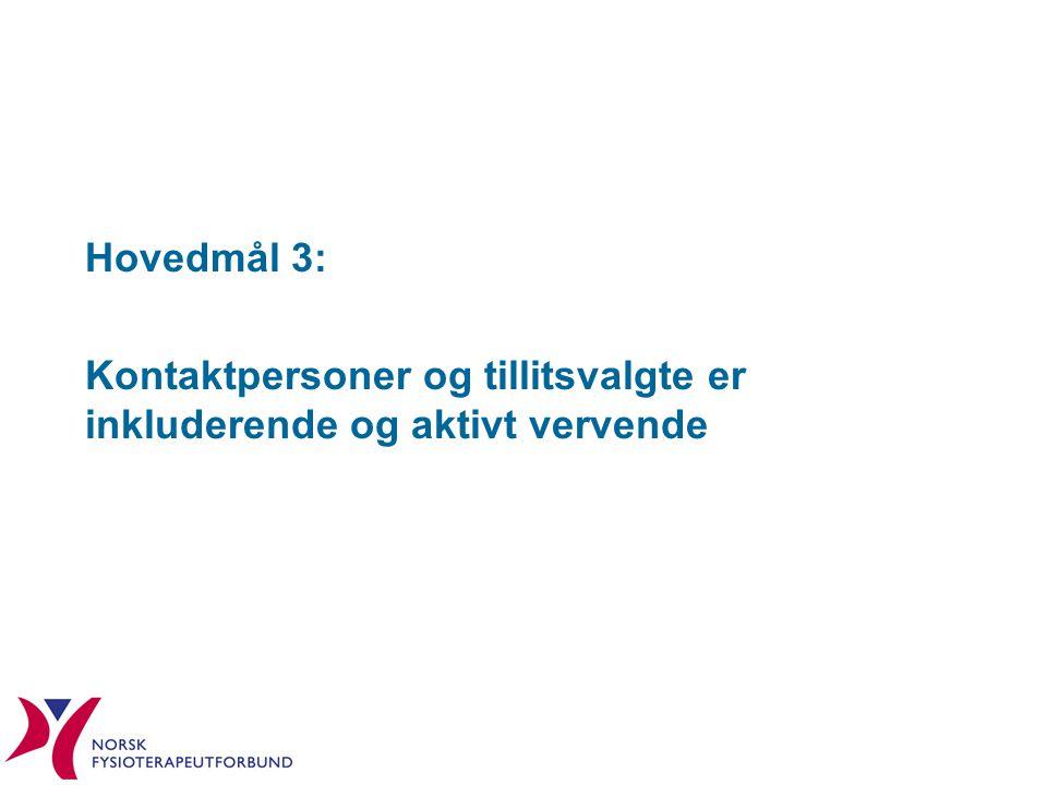 Hovedmål 3: Kontaktpersoner og tillitsvalgte er inkluderende og aktivt vervende