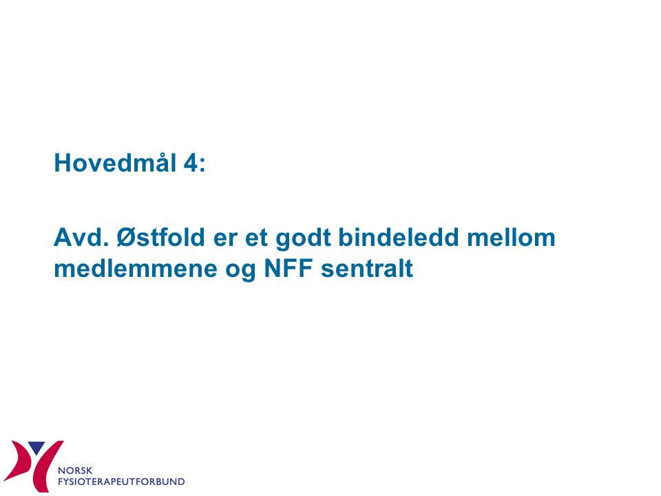 Hovedmål 4: Avd. Østfold er et godt bindeledd mellom medlemmene og NFF sentralt