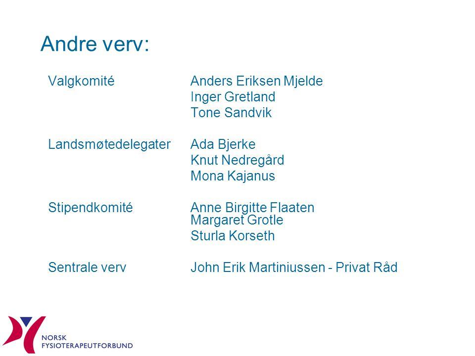 Andre verv: Valgkomité Anders Eriksen Mjelde Inger Gretland