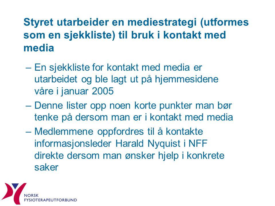 Styret utarbeider en mediestrategi (utformes som en sjekkliste) til bruk i kontakt med media