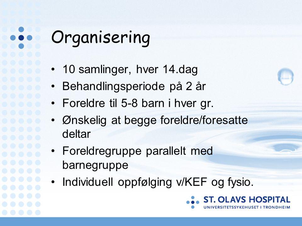 Organisering 10 samlinger, hver 14.dag Behandlingsperiode på 2 år