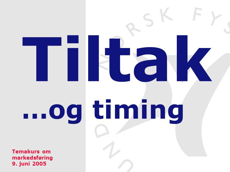 Tiltak …og timing Temakurs om markedsføring 9. juni 2005
