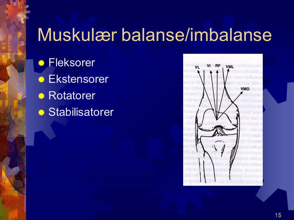 Muskulær balanse/imbalanse