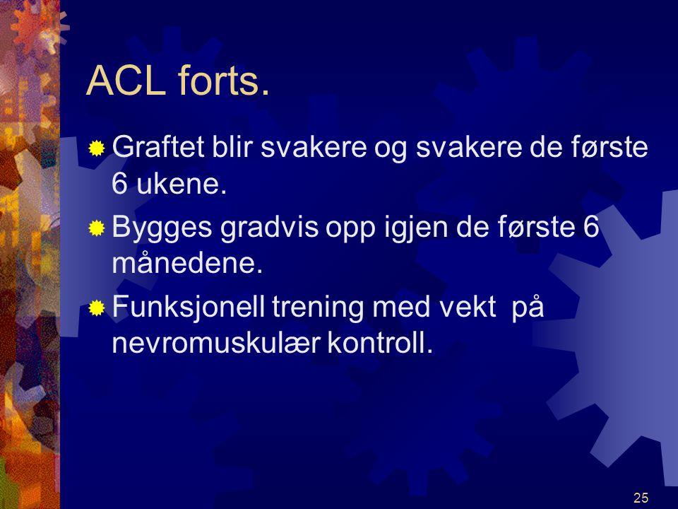 ACL forts. Graftet blir svakere og svakere de første 6 ukene.