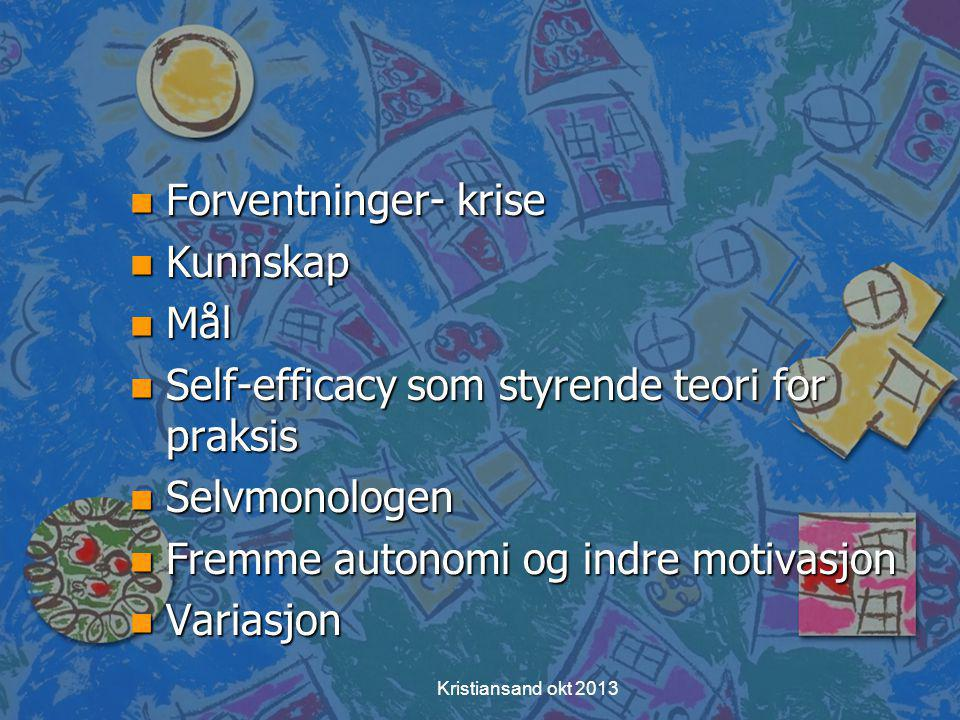 Self-efficacy som styrende teori for praksis Selvmonologen