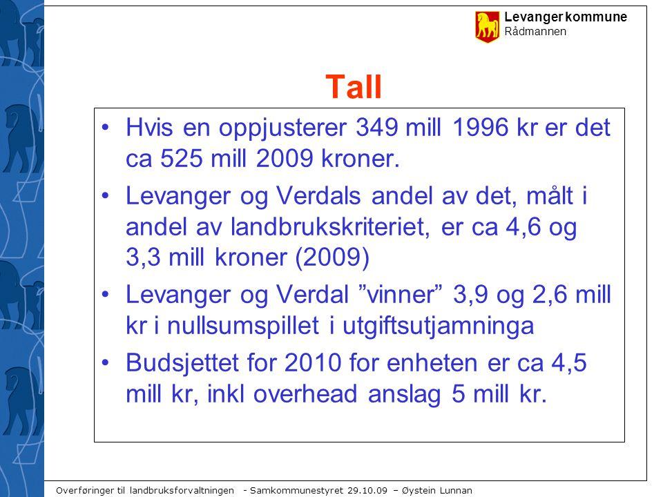 Tall Hvis en oppjusterer 349 mill 1996 kr er det ca 525 mill 2009 kroner.